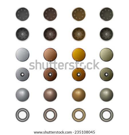 Set of realistic different metal jeans buttons and rivets.  - stock vector