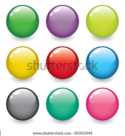 set of realistic, dimensional, colorful, vector spheres - stock vector