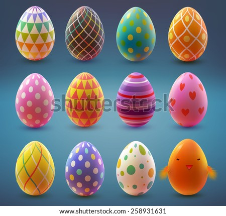 Set of realistic eggs on blue background. Easter collection. Vector illustration. - stock vector