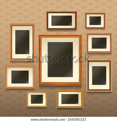 Set of realistic empty picture frames on wall with textured wallpaper vector illustration - stock vector