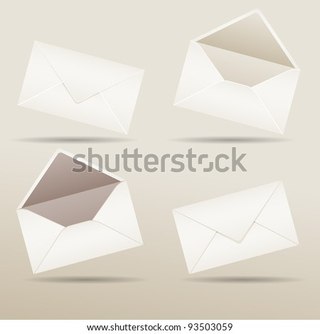 Set of realistic envelopes with shadow, vector illustration, eps10, 3 layers - stock vector