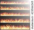 set of realistic fire flames on ...