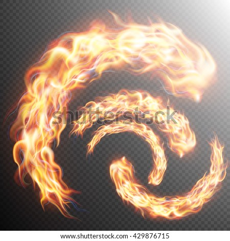 Set of realistic fire flames on transparent background. Special effects. Translucent elements. Transparency grid. EPS 10 vector file included - stock vector