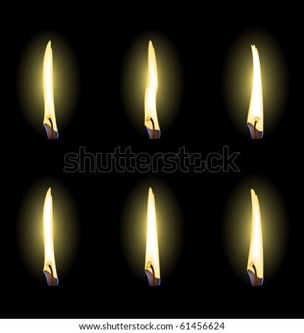 Set of realistic flames are isolated. Vector - stock vector