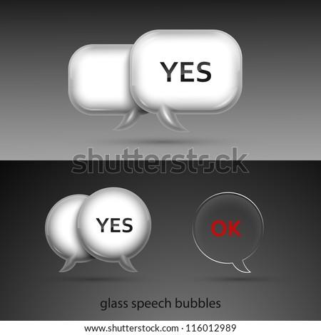 Set of realistic glass speech bubbles. Vector illustration. - stock vector