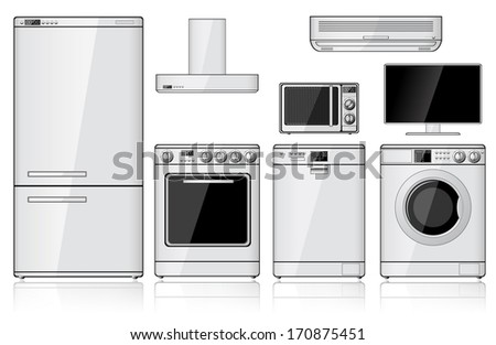 Set of realistic household appliances isolated on white. Vector illustration. - stock vector