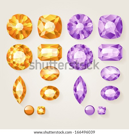 Set of realistic jewels - yellow and purple. Colorful gemstones.