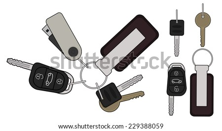 Set of realistic keys icons: remote car starter, usb flash drive, leather trinket, group of house keys. Color illustration isolated on white - stock vector