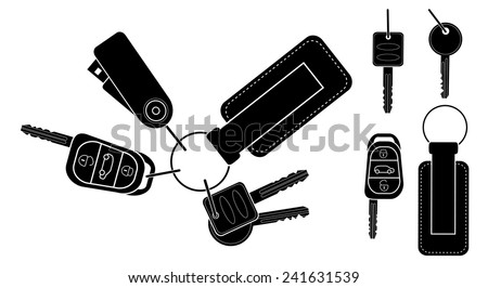 Set of realistic keys icons: remote car starter, usb flash drive, leather trinket, group of house keys. Black and white vector clip art illustration isolated - stock vector