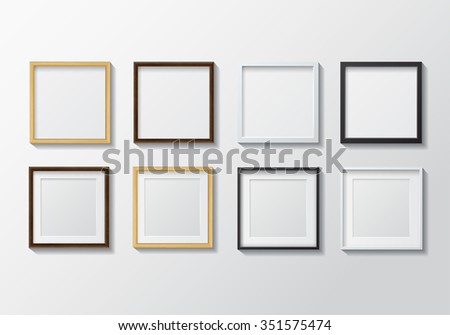 Set Realistic Light Wood Blank Picture Stock Vector 351575474 ...