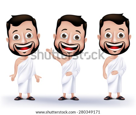 Set of Realistic Muslim Man Characters Wearing Ihram Cloths for Performing Hajj or Umrah Pilgrimage in Makkah isolated in White Background. Editable Vector Illustration. - stock vector
