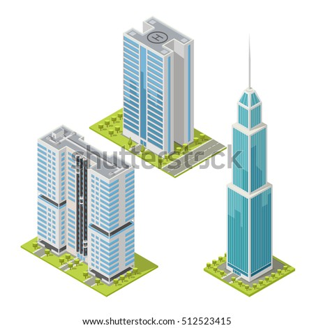Set of realistic office buildings, isometric skyscrapers, modern apartments. Vector illustration, 3D design used for logos, infographics and city map creation.