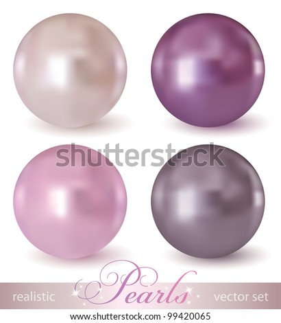 set of realistic pearls on white background