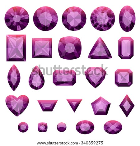 Set of realistic purple jewels. Colorful gemstones. Amethysts isolated on white background. - stock vector