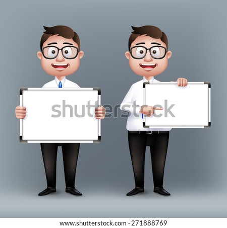 Set of Realistic Smart Professional or Business Man Characters With Eyeglasses Holding Empty White Board in Long Sleeve and Necktie Isolated in White Background. Editable Vector Illustration - stock vector