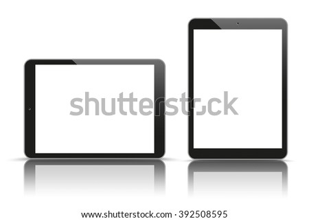 Set of realistic 2 tablets on the white background. Eps 10 vector file.
