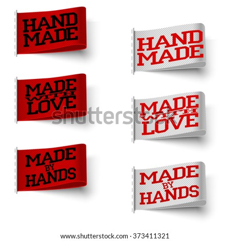 Set of  realistic textile red and white labels with tissue structure, hand made and made with love and made by hand, with shadow on white background, vector