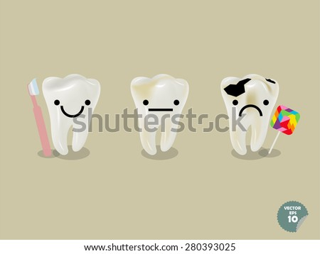 set of realistic tooth including healthy tooth with toothbrush and decayed tooth with lollipop - stock vector
