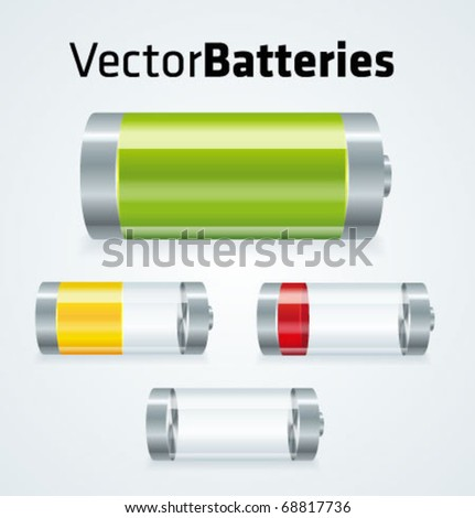 Set of realistic vector batteries with different charges. - stock vector