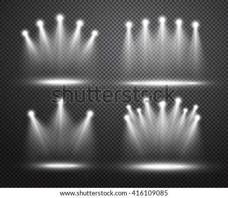 Set of realistic vector bright projectors for scene lighting isolated on plaid background. Special light effects collection - stock vector