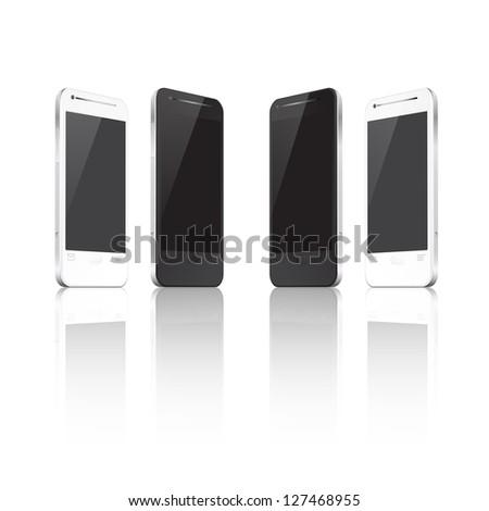 Set of realistic vector mobile phones. EPS10 vector. - stock vector