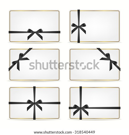 Set of realistic white gift cards with black ribbons and gold frame. Vector EPS10 illustration.  - stock vector