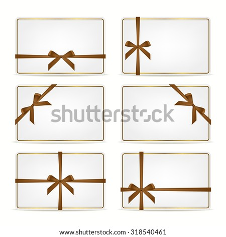 Set of realistic white gift cards with brown ribbons and gold frame. Vector EPS10 illustration.  - stock vector