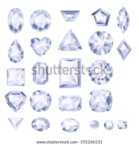 Set of realistic white jewels. Colorful gemstones. Diamonds isolated on white background. - stock vector