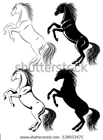 Set of rearing horse illustrations in different techniques - stock vector