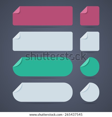 Set of rectangle and round blank paper stickers with curved corners. Vector illustration - stock vector