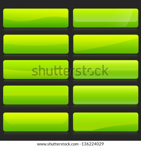 Set of rectangle horizontal shiny green banner buttons with different gloss reflections over, eps10 vector - stock vector