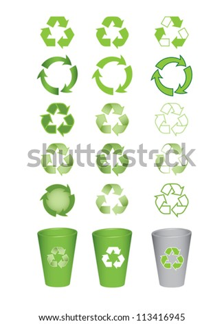 set of recycle icons vector illustration - stock vector