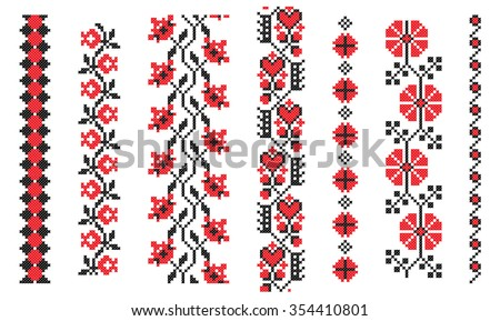 set of red and black cross-stitch embroidery - stock vector