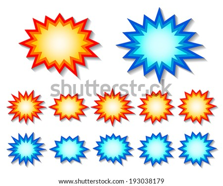 set of red and blue starburst speech bubbles. vector. - stock vector