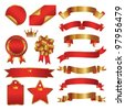 set of red and gold ribbon - stock vector