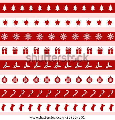 Set of red and white Christmas icons, vector illustration - stock vector
