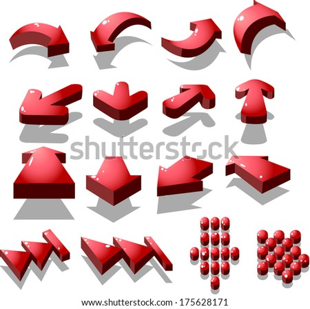 set of red arrow icon, created by vector - stock vector