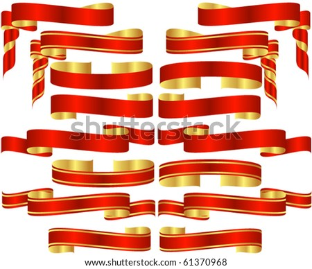Set of Red Banner Scrolls with Golden Accents - stock vector