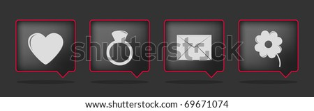 set of red black love icons - stock vector