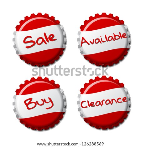 Set of red bottle caps isolated on white background, vector illustration - stock vector
