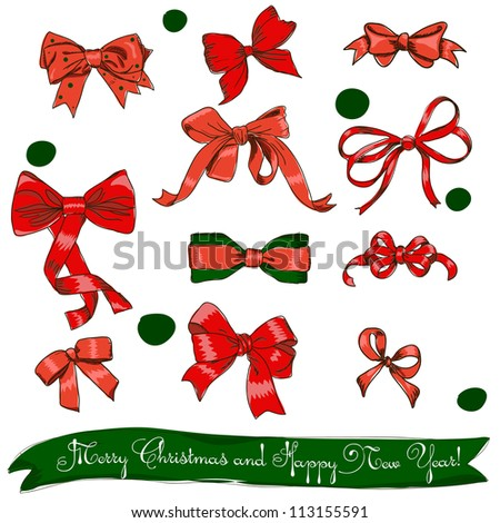 set of red bows. Vector illustration EPS8 - stock vector