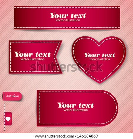Set of red bubbles, stickers, labels, tags. Vector template - stock vector