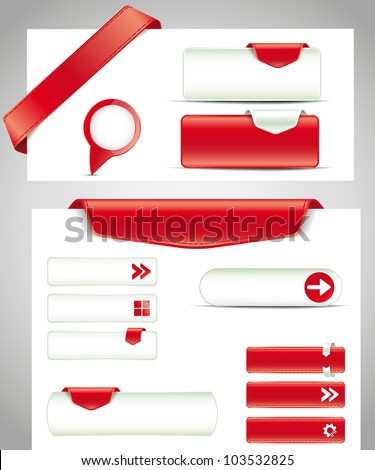 set of red buttons, banners, bookmarks for your site - stock vector