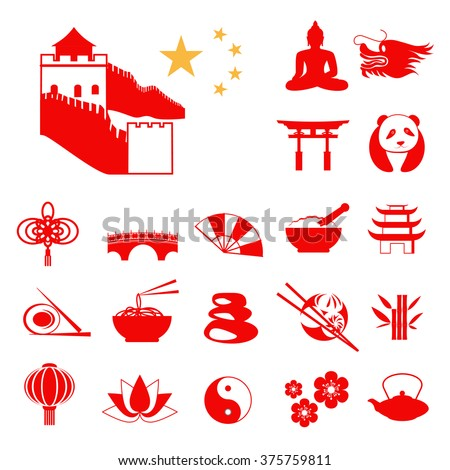 Set of Red China Infographic icons with China stars
