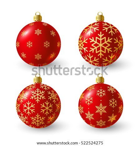 Set of red Christmas balls for Your design