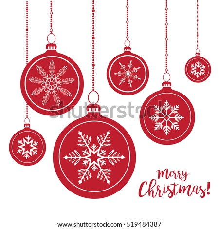 Set Red Christmas Balls Hanging On Stock Vector 519484387