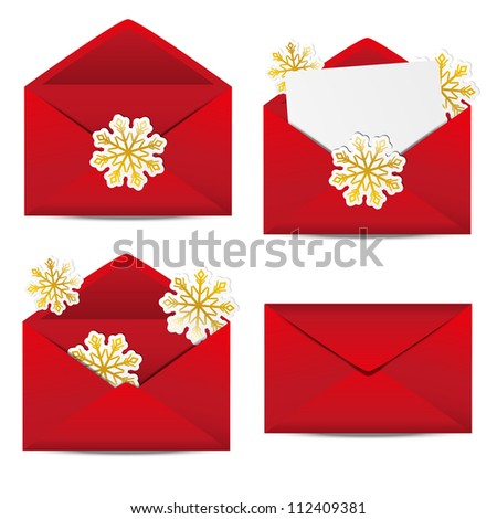 Set of red Christmas envelopes - stock vector