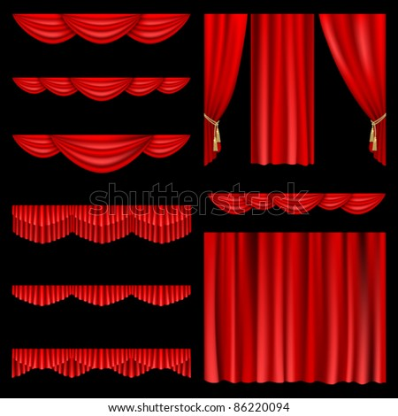 Set of red curtains to theater stage. Mesh. - stock vector