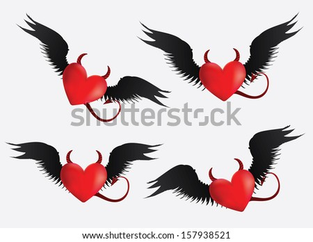 Set of red devil hearts with black wings on light grey background. - stock vector