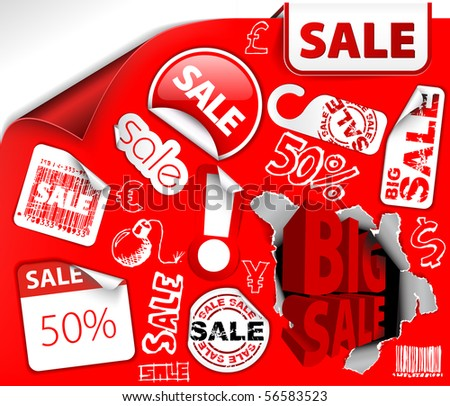 Set of red discount tickets, labels, stamps, stickers, corners, tags (vector) - stock vector
